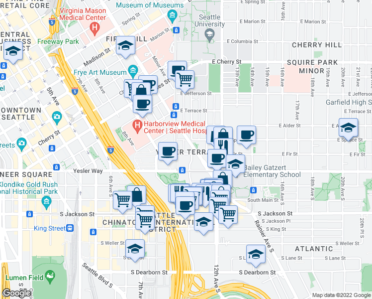 map of restaurants, bars, coffee shops, grocery stores, and more near 165 10th Avenue in Seattle