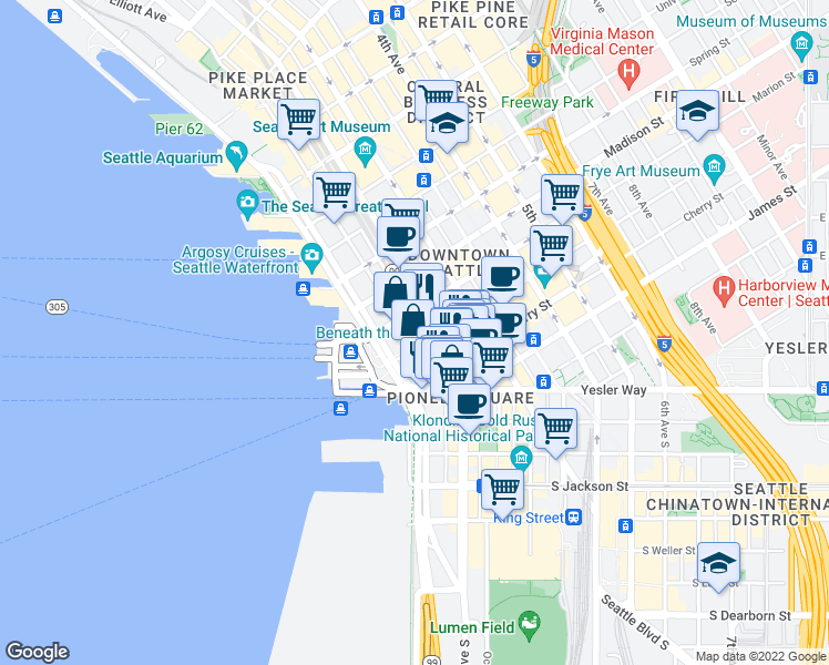 map of restaurants, bars, coffee shops, grocery stores, and more near 888 Western Avenue in Seattle