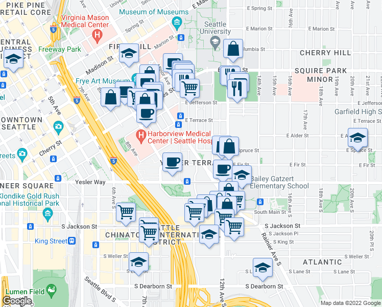 map of restaurants, bars, coffee shops, grocery stores, and more near 195-233 Boren Avenue in Seattle