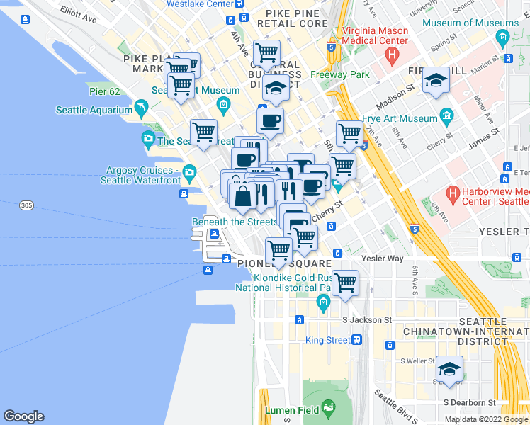 map of restaurants, bars, coffee shops, grocery stores, and more near 811 1st Avenue in Seattle