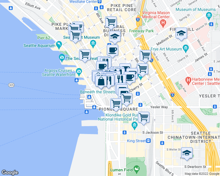 map of restaurants, bars, coffee shops, grocery stores, and more near 900 1st Avenue in Seattle