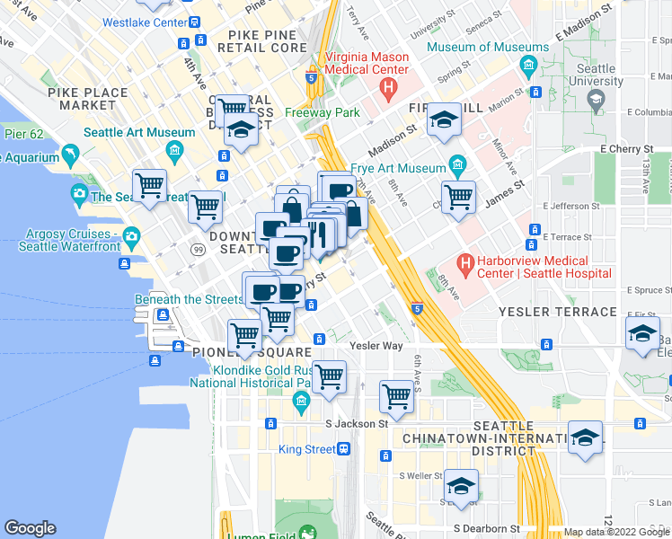 map of restaurants, bars, coffee shops, grocery stores, and more near 1000 4th Avenue in Seattle