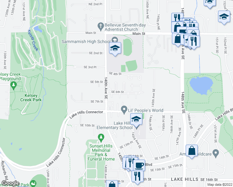 map of restaurants, bars, coffee shops, grocery stores, and more near 14111 Southeast 6th Street in Bellevue