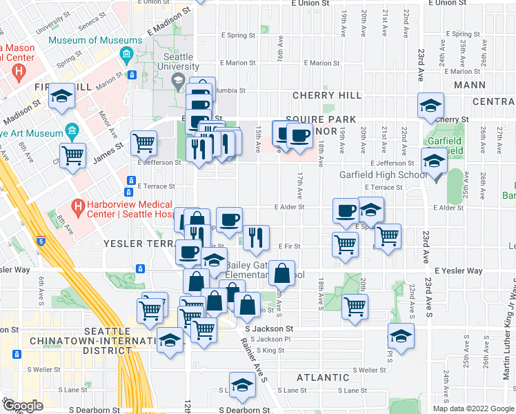 map of restaurants, bars, coffee shops, grocery stores, and more near East Alder Street & 15th Avenue in Seattle