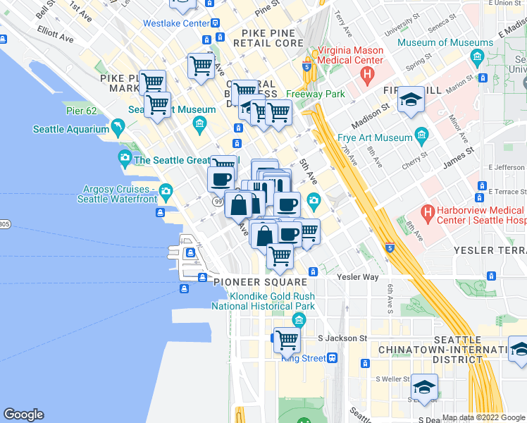 map of restaurants, bars, coffee shops, grocery stores, and more near 816 2nd Avenue in Seattle