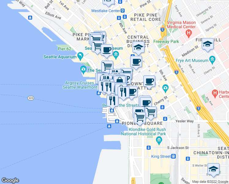 map of restaurants, bars, coffee shops, grocery stores, and more near 1009 Western Avenue in Seattle