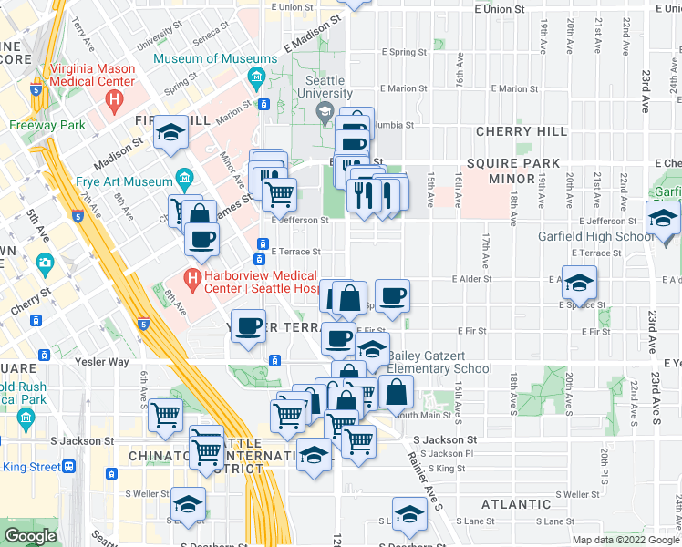 map of restaurants, bars, coffee shops, grocery stores, and more near 301 12th Avenue in Seattle