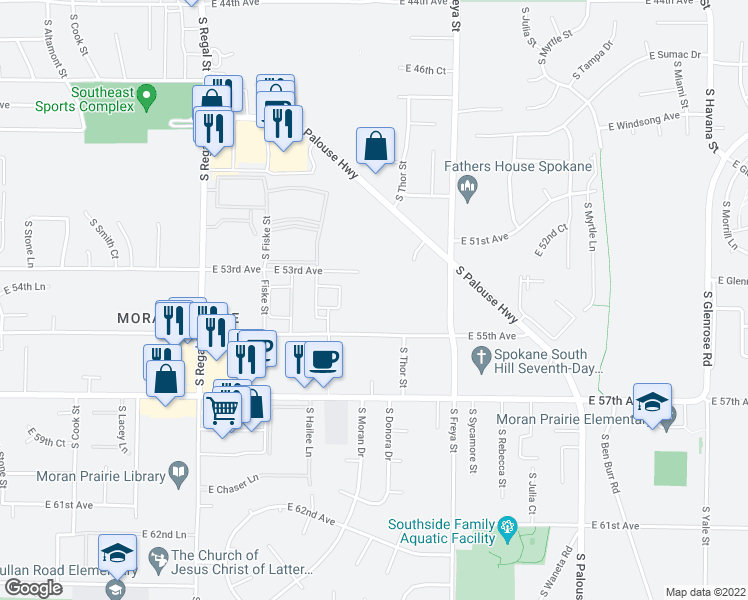map of restaurants, bars, coffee shops, grocery stores, and more near 3323 East 55th Avenue in Spokane