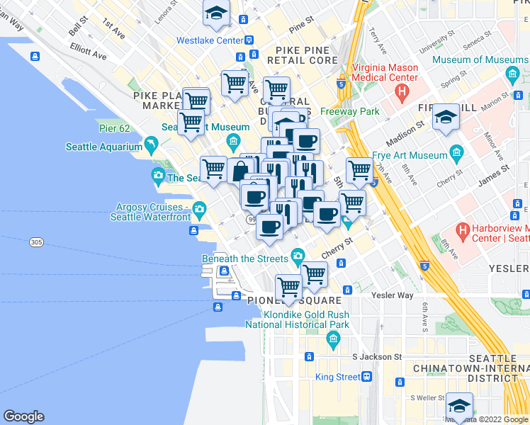 map of restaurants, bars, coffee shops, grocery stores, and more near 1000 1st Avenue in Seattle