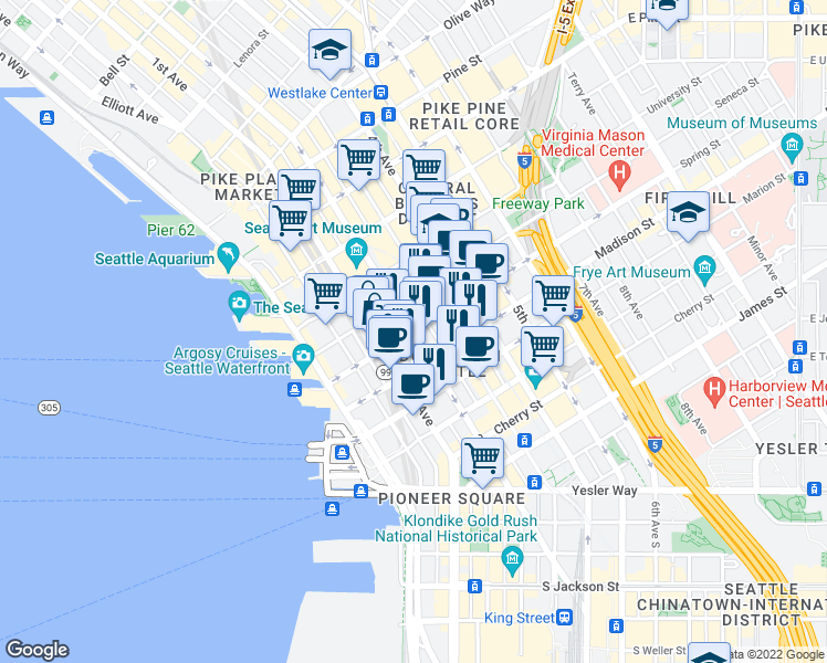 map of restaurants, bars, coffee shops, grocery stores, and more near 2nd Avenue in Seattle