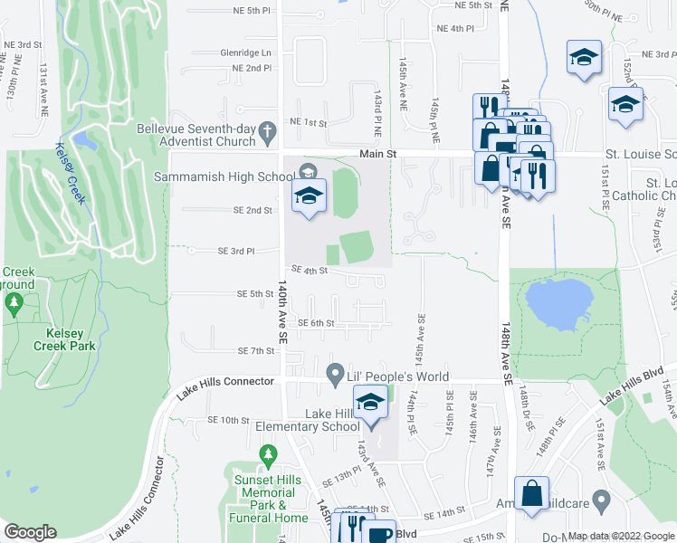 map of restaurants, bars, coffee shops, grocery stores, and more near 14205 Southeast 4th Street in Bellevue