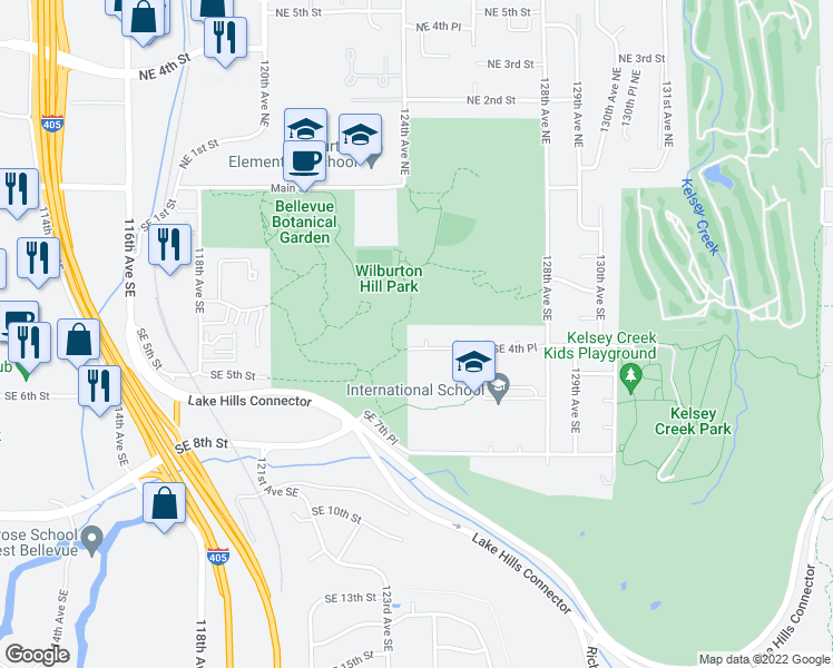 map of restaurants, bars, coffee shops, grocery stores, and more near 12404 Southeast 4th Place in Bellevue