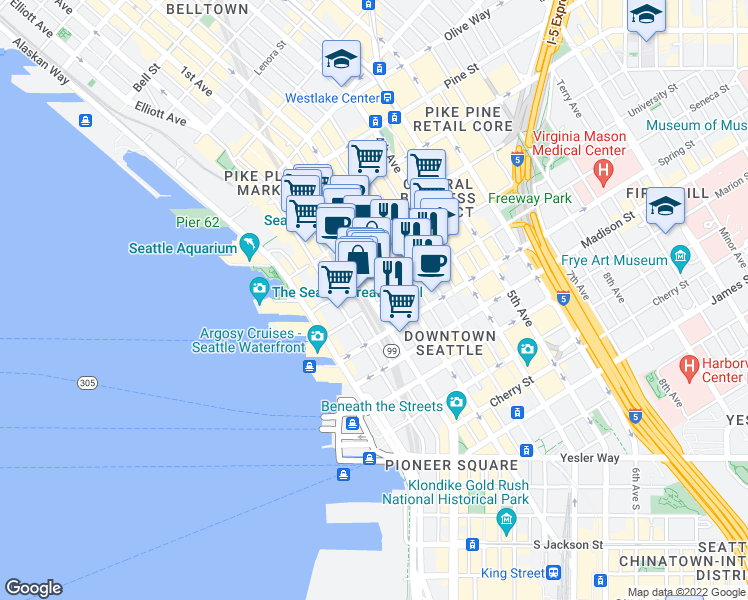map of restaurants, bars, coffee shops, grocery stores, and more near 1221 1st Avenue in Seattle