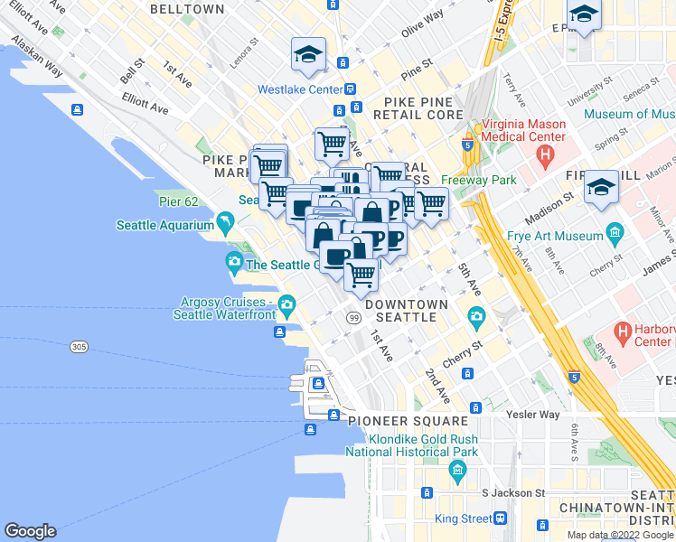 map of restaurants, bars, coffee shops, grocery stores, and more near 1221 2nd Avenue in Seattle