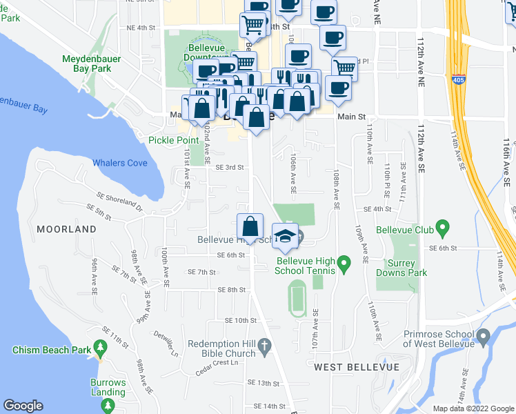 map of restaurants, bars, coffee shops, grocery stores, and more near 420 Bellevue Way Southeast in Bellevue