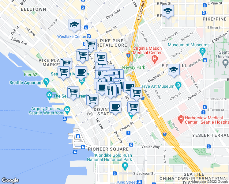 map of restaurants, bars, coffee shops, grocery stores, and more near 1101 4th Avenue in Seattle