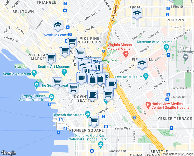 map of restaurants, bars, coffee shops, grocery stores, and more near 1001-1099 5th Avenue in Seattle