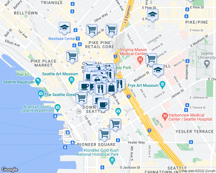 map of restaurants, bars, coffee shops, grocery stores, and more near 1001-1099