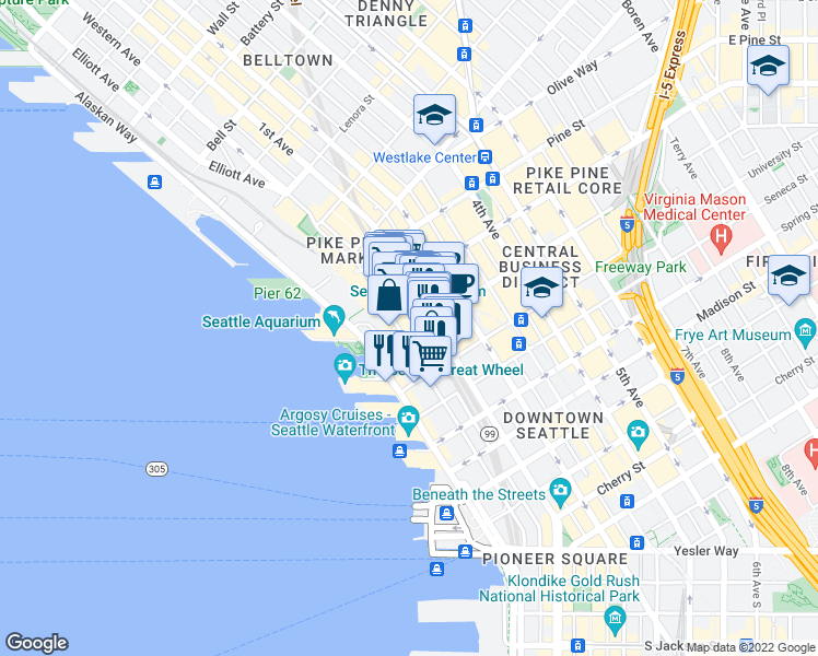 map of restaurants, bars, coffee shops, grocery stores, and more near 84 Union Street in Seattle