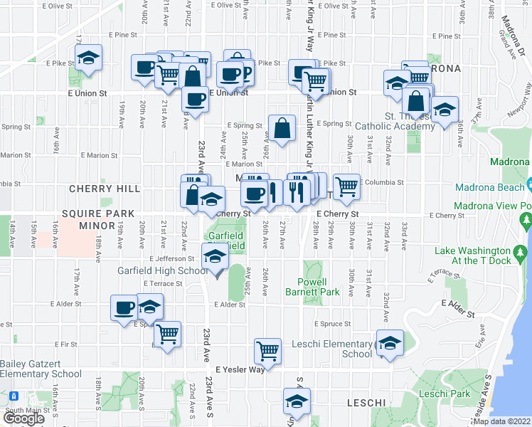 map of restaurants, bars, coffee shops, grocery stores, and more near 2608 East Cherry Street in Seattle