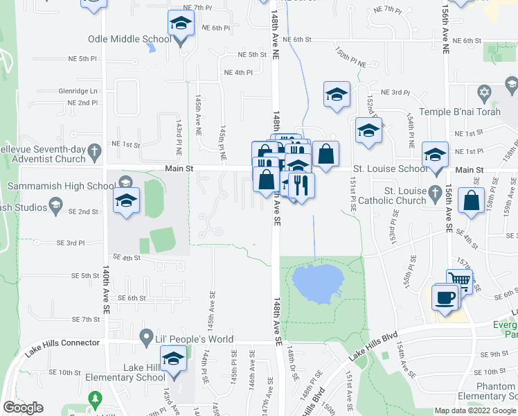 map of restaurants, bars, coffee shops, grocery stores, and more near 124 147th Avenue Southeast in Bellevue