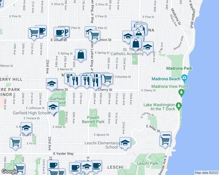 map of restaurants, bars, coffee shops, grocery stores, and more near 703 30th Avenue in Seattle