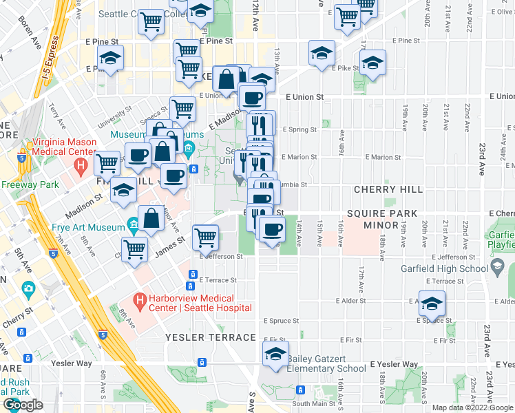 map of restaurants, bars, coffee shops, grocery stores, and more near 722 12th Avenue in Seattle