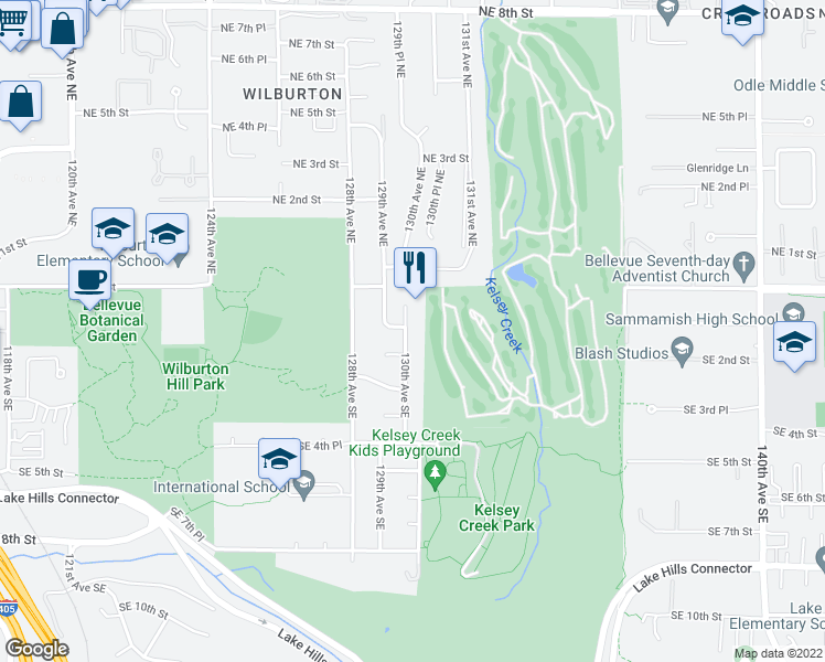 map of restaurants, bars, coffee shops, grocery stores, and more near 104 130th Avenue Southeast in Bellevue