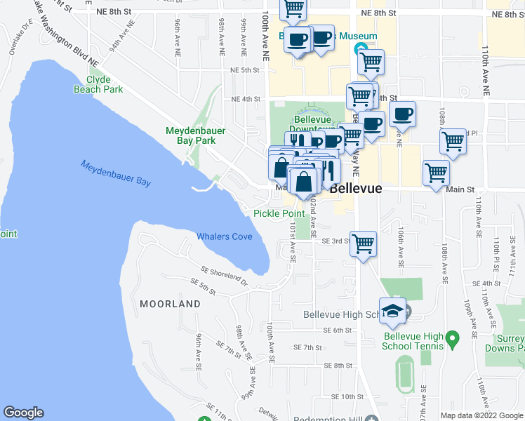 map of restaurants, bars, coffee shops, grocery stores, and more near 10000 Meydenbauer Way Southeast in Bellevue