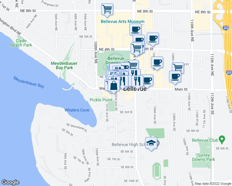 map of restaurants, bars, coffee shops, grocery stores, and more near 10237 Main Street in Bellevue