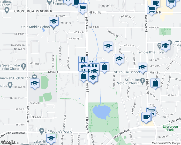 map of restaurants, bars, coffee shops, grocery stores, and more near 14845 Main Street in Bellevue
