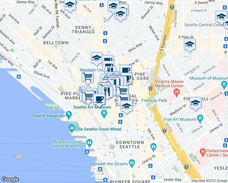 map of restaurants, bars, coffee shops, grocery stores, and more near 4th Avenue in Seattle