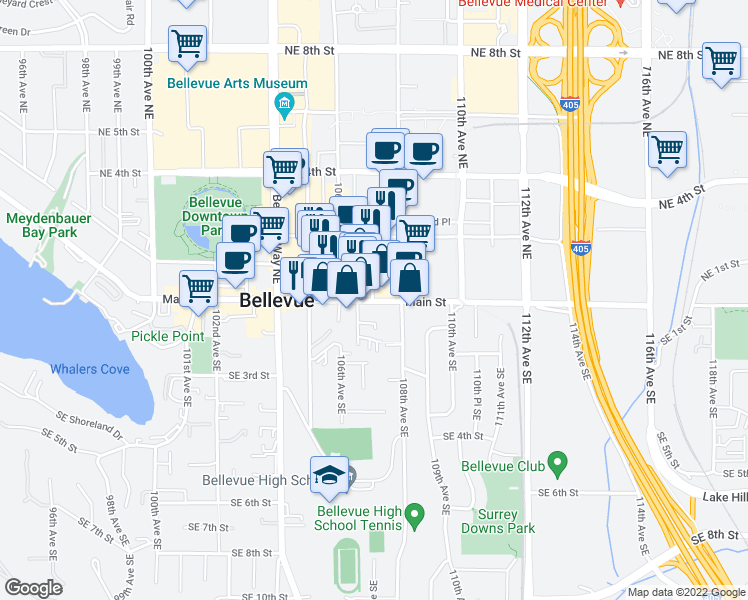 map of restaurants, bars, coffee shops, grocery stores, and more near 10713 Main Street in Bellevue