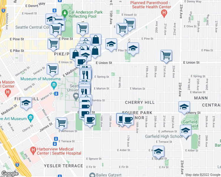 map of restaurants, bars, coffee shops, grocery stores, and more near 15th Avenue in Seattle