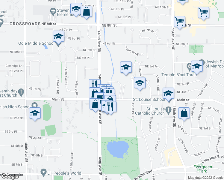 map of restaurants, bars, coffee shops, grocery stores, and more near 14911 Northeast 1st Place in Bellevue