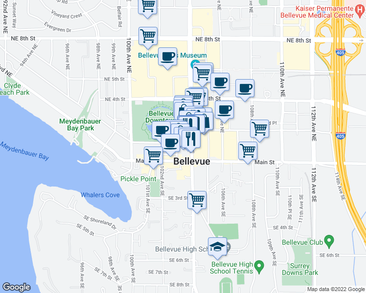 map of restaurants, bars, coffee shops, grocery stores, and more near 10333 Northeast 1st Street in Bellevue
