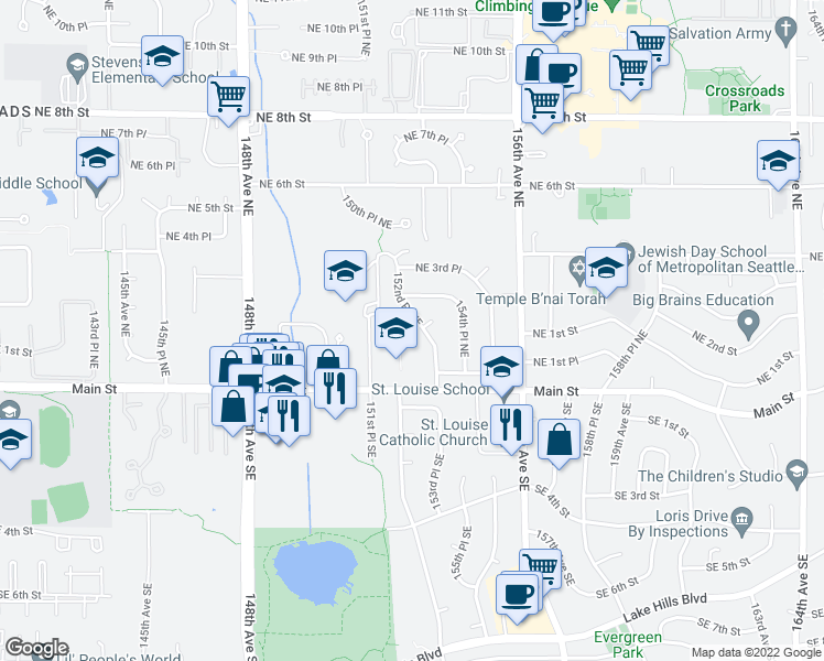map of restaurants, bars, coffee shops, grocery stores, and more near 131 152nd Place Northeast in Bellevue
