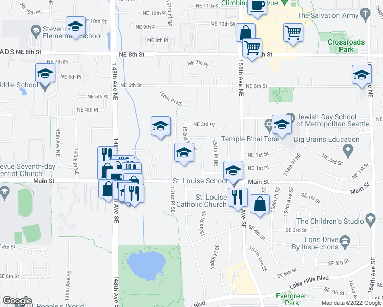map of restaurants, bars, coffee shops, grocery stores, and more near 131 152nd Place Southeast in Bellevue