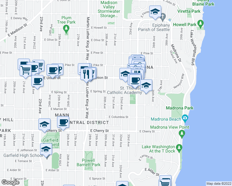 map of restaurants, bars, coffee shops, grocery stores, and more near 3105 East Spring Street in Seattle