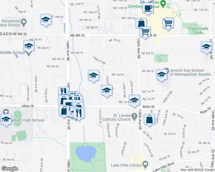 map of restaurants, bars, coffee shops, grocery stores, and more near 149 152nd Place Northeast in Bellevue