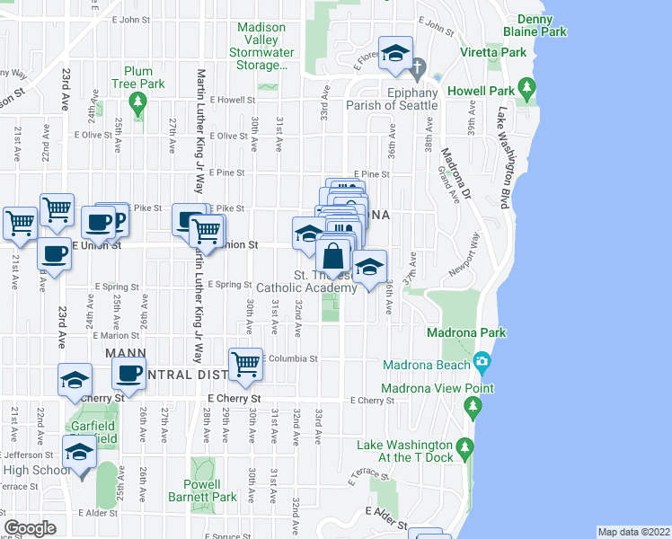 map of restaurants, bars, coffee shops, grocery stores, and more near 1115 34th Avenue in Seattle