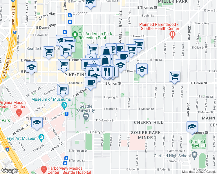 map of restaurants, bars, coffee shops, grocery stores, and more near 1319 East Union Street in Seattle