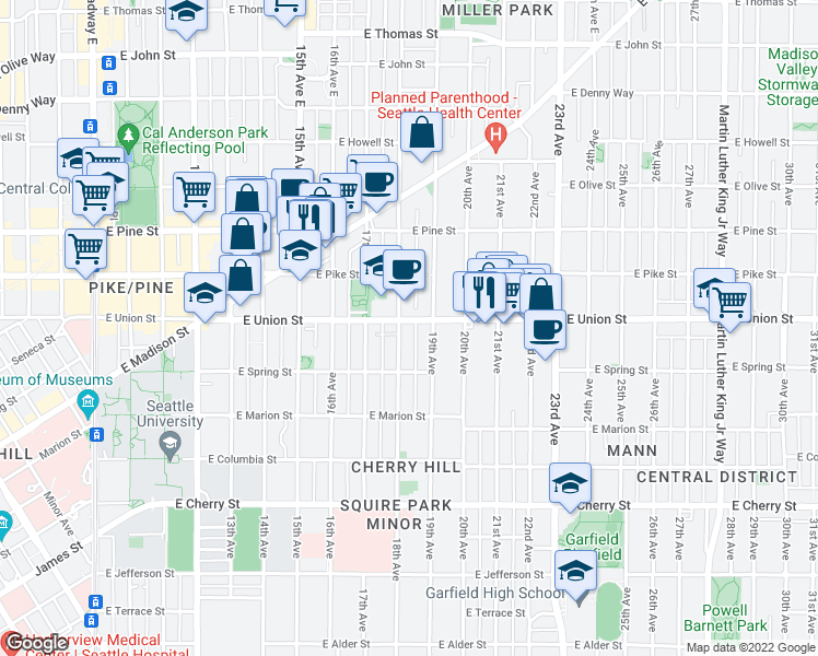 map of restaurants, bars, coffee shops, grocery stores, and more near 1140 18th Avenue in Seattle