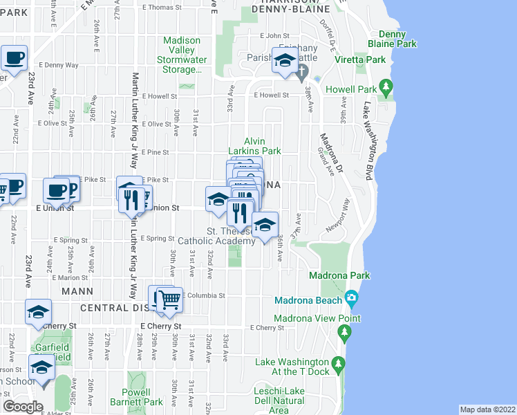 map of restaurants, bars, coffee shops, grocery stores, and more near 1403 35th Avenue in Seattle