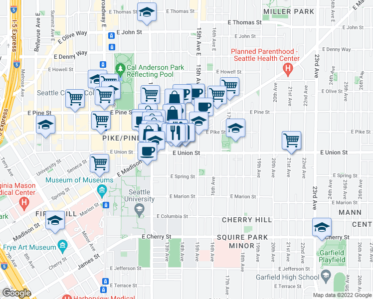 map of restaurants, bars, coffee shops, grocery stores, and more near 1318 East Union Street in Seattle