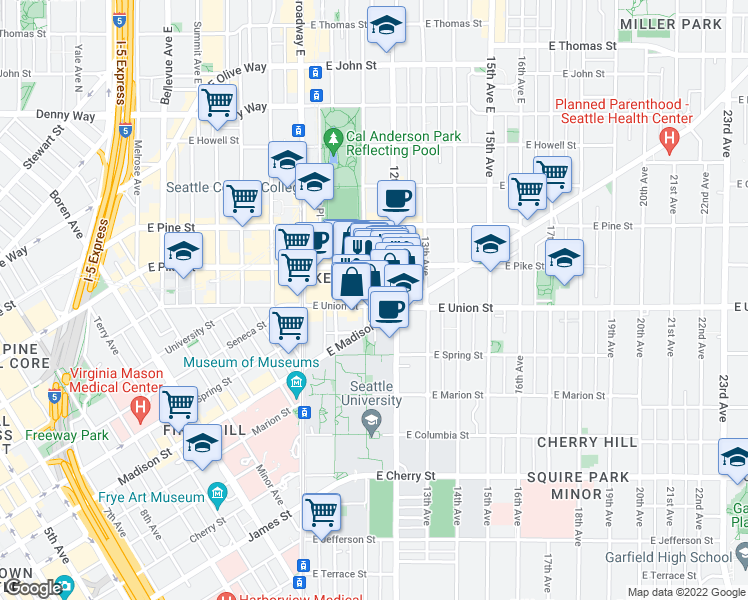 map of restaurants, bars, coffee shops, grocery stores, and more near 1100 East Union Street in Seattle