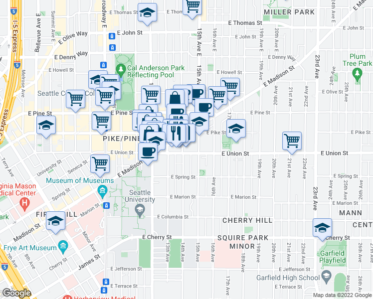 map of restaurants, bars, coffee shops, grocery stores, and more near 1408 East Union Street in Seattle