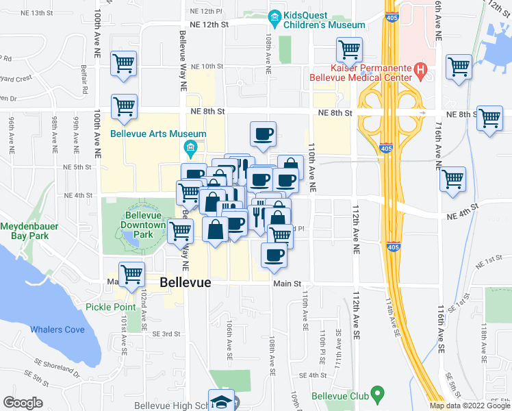 map of restaurants, bars, coffee shops, grocery stores, and more near 333 108th Avenue Northeast in Bellevue