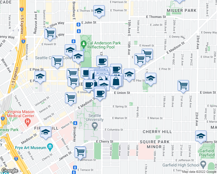 map of restaurants, bars, coffee shops, grocery stores, and more near 1222 East Madison Street in Seattle