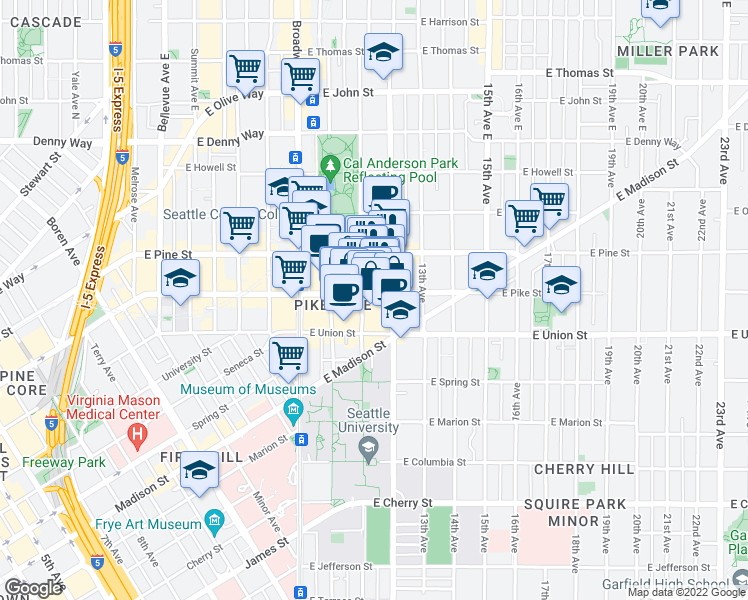 map of restaurants, bars, coffee shops, grocery stores, and more near 1111 East Pike Street in Seattle